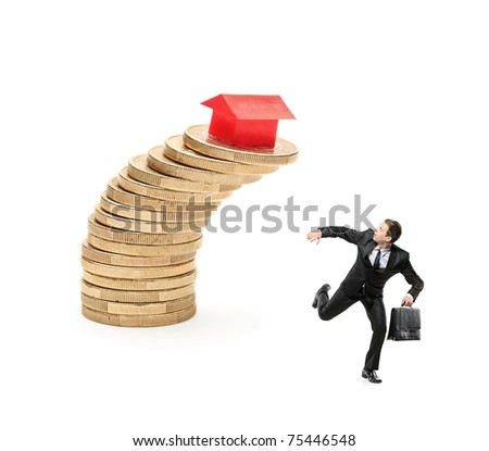 Scared investor running away from falling real estate prices isolated on white background