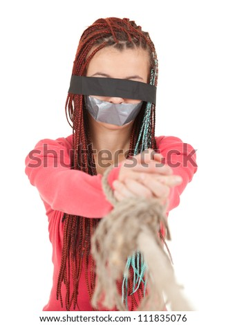 scared kidnapped young woman, hostage, white background