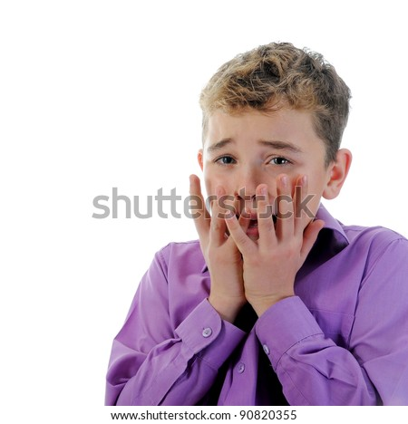 Scared Little Boy. Isolated on white background