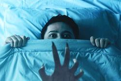Scared man nightmare,  halloween theme