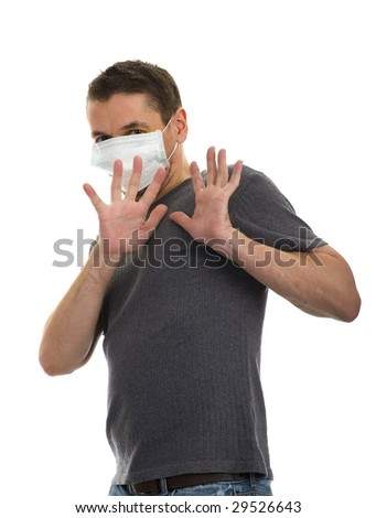 scared man wearing a face mask, isolated on white