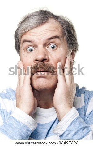 scared mature man portrait isolated on white background