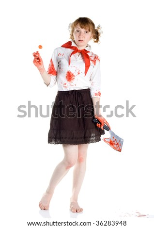 scared pioneer girl with candy and bloody knife