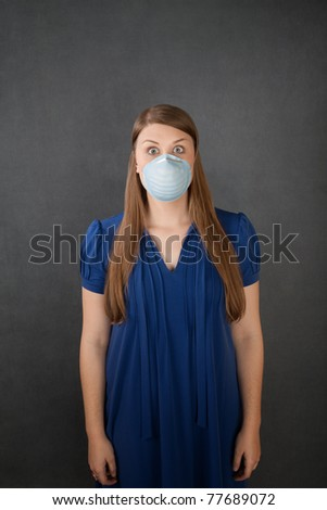 Scared pretty Caucasian woman with surgical mask
