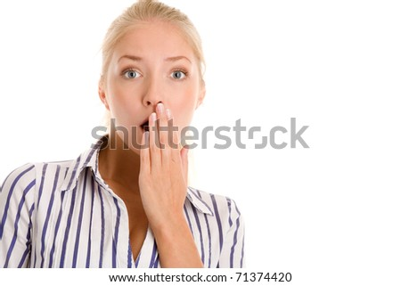 Scared woman covering mouth with hand