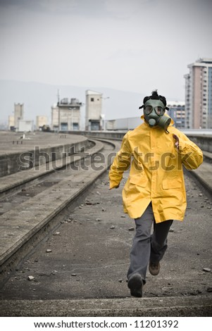 Scared worker running from something