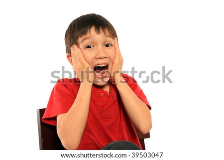 Scared young boy on pure white background