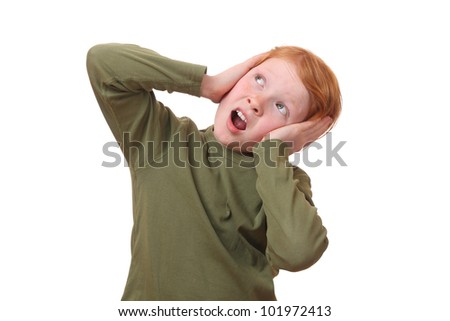 Scared young girl on white background