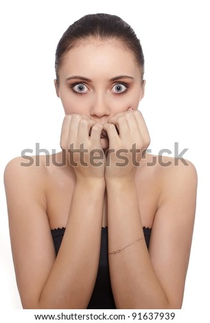 Scared young woman isolated against white background - stock photo