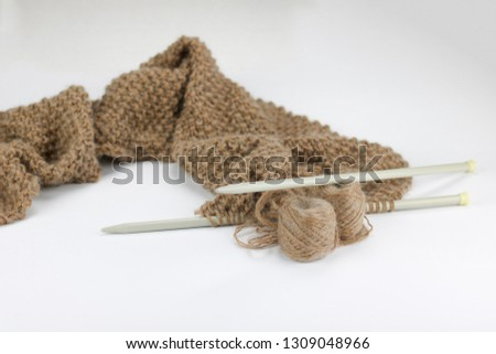 scarf knitted work in alpaca and mohair yarn, white background