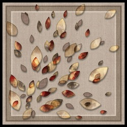 Scarf pattern with colorful leaves and with fabric texture