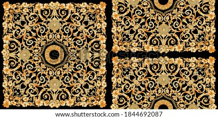 Scarf silk Gold baroque seamless wallpaper pattern texture composed by floral and victorian golden medallion elements on black background. Photo stock ©