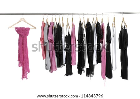 Scarf with fashion colorful clothing hanging a on display
