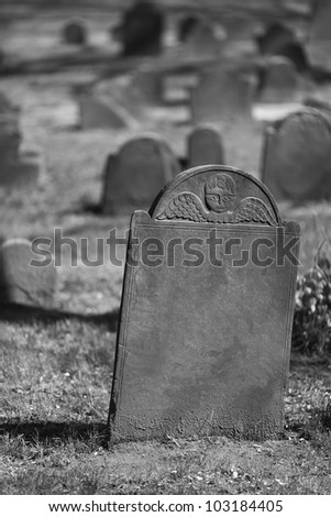 Scaring Tombstones in an old cemetery.
