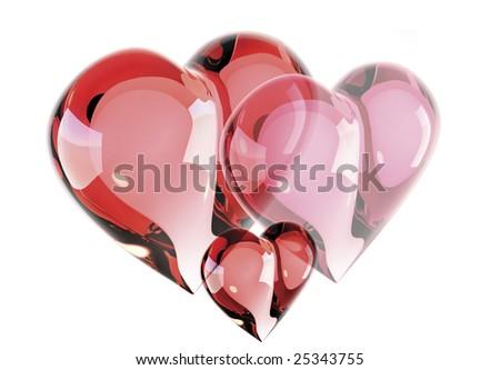Scarlet heart group, glass, 3D