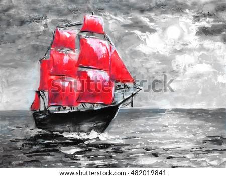 Scarlet sails, oil painting. Ship in ocean. Celebration in St. Petersburg, illustration on the novel