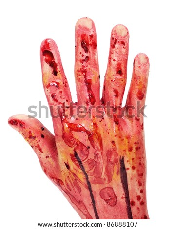 scary and bloody hand for Halloween on a white background