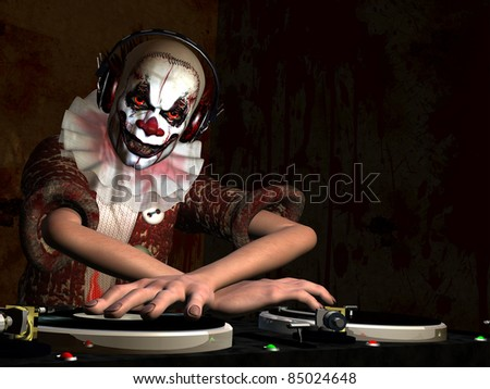 Scary Clown DJ. A scary clown dj is in the House and mixing up some Halloween horror in front of a blood splattered wall.  Turntables with vinyl albums.