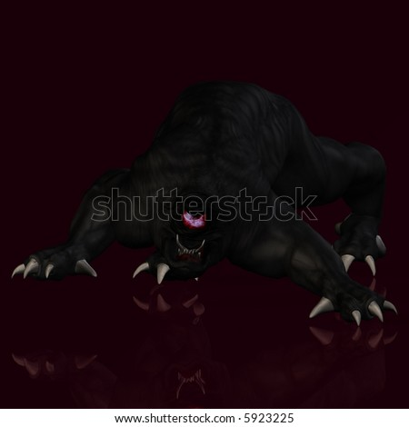 Scary creature crawling towards you With Clipping Path / Cutting Path