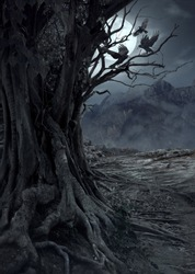 Scary dead tree, night in the mysterious forest with moon light and three crows