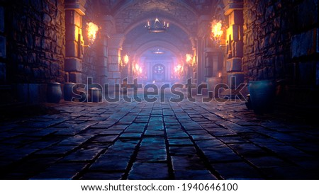 Scary endless medieval catacombs with torches. Mystical nightmare concept. 3D Rendering.