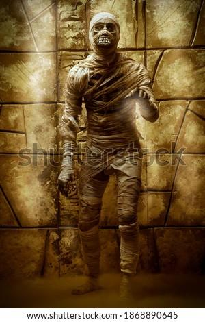 Scary evil mummy climbs out of an ancient Egyptian tomb. Halloween. Ancient Egyptian mythology. Stock fotó ©