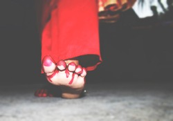 Scary feelings....>>>><<<<<Newly married house wife. Walking gesture with foots.