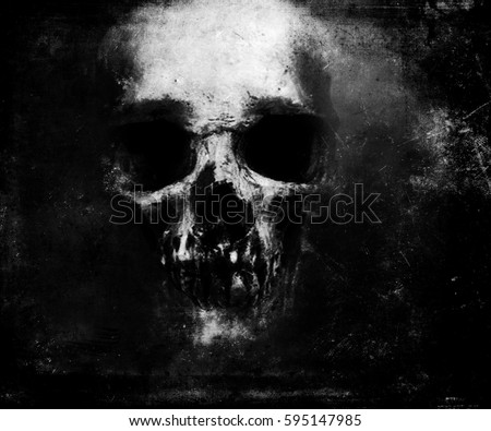 Scary Grunge Skull Isolated On Black Background. Design for t-shirt print with skull.
