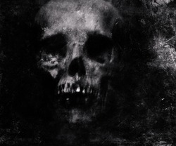 Scary grunge skull wallpaper. Halloween background.
