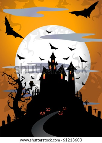 Scary halloween background with moon and old tree