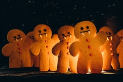 Scary halloween cookies, selective focus decoration on the black background. Halloween style