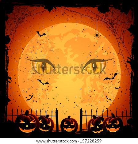 Scary Halloween night background with Moon and pumpkins, illustration. - stock photo