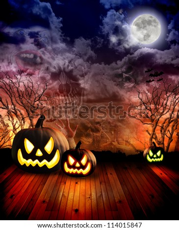 Scary halloween pumpkins are in a dark scene with clouds and various horror images in the sky with a moon. There are trees and a wooden floor area to add a text message.