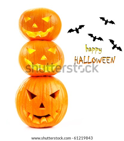 Scary Halloween pumpkins & bats  isolated on white