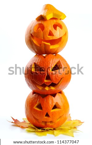 Scary halloween pumpkins Jack O Lanterns isolated on white background