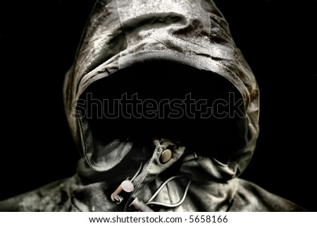 Scary Hood isolated on Black background - stock photo
