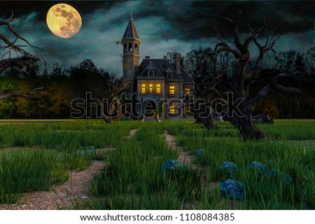 scary house on moonlight 3d illustration