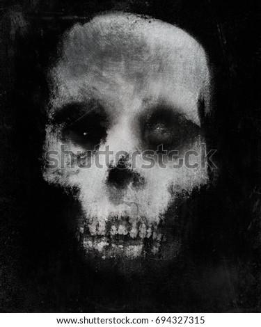 Scary illustration of skull. Horror background. Spooky halloween wallpaper.
