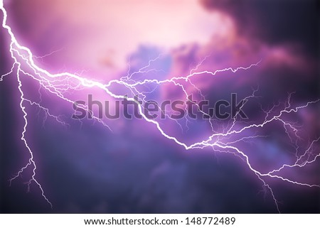 Scary lightning over natural background