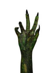 Scary monster on white background, closeup of hand. Halloween character