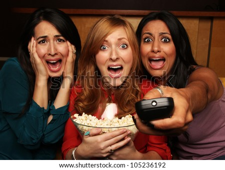 Scary Movie Night with Girlfriends - stock photo
