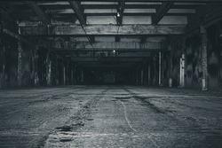 scary night underground parking. old abandoned building.