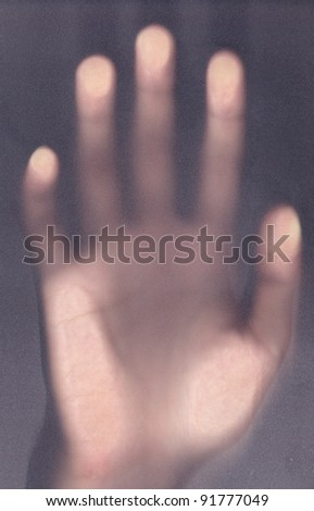 scary palm of hand behind shower curtain background