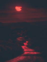 scary path at night with bloody red moon