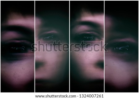scary picture. woman's face with black eyes and lightning in them. quadriptych collage. concept of fear and horror