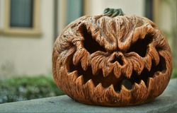 Scary Pumpkin Background Angry Face Pumpkin Halloween