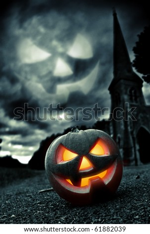 Scary Pumpkin within a graveyard...