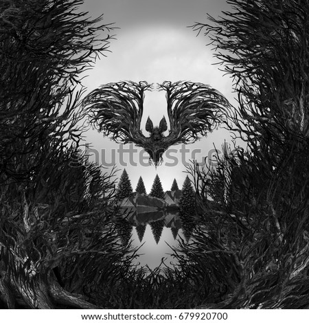 Scary Skull background as a surreal haunted forest with dead trees and mountain shaped as a possessed skeleton head with 3d illustration elements as a halloween or fear metaphor.