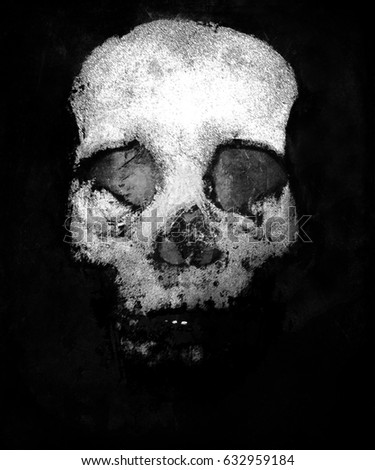 Scary Skull, Black And White Horror Background For Halloween Concept And Movie Poster Project. Design for t-shirt print with skull.