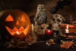 Scary still life with skull, pumpkin, old books, maple leaves, vintage bottles, candles and a Eurasian scops owl sitting on a witch table. Halloween or esoteric concept.